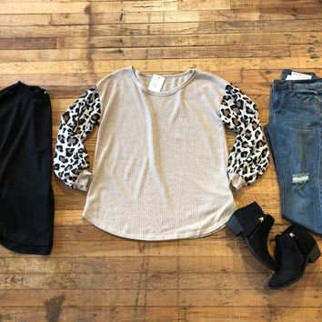 SALE!  Wild at Heart Top in Black and Taupe