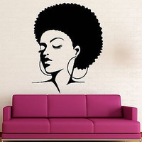 Wall Stickers Vinyl Decal Black Lady Sexy Hot Girl Hair Beauty (ig1633)