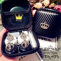 Lovely Handmade Crown Contact Lens Case Set With Mirror Travel Lenses Box Contact Lens Box 2Pairs Container For Contact Lens