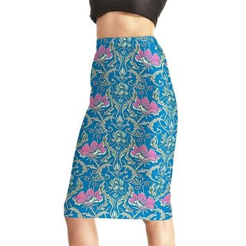 Family Friends party Board game New Design Blue Women Sexy High Waist Midi Skirts Tennis Bowling Skirts Slim Elastic Retro Flowers Female Party Apparel S to 4XL AT_41_3