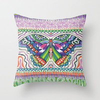 Tribal Butterfly Throw Pillow by Janet Broxon