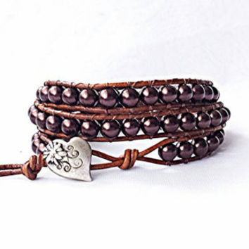 leather wrap bracelet, beaded wrap bracelet, wrap bracelet, leather wrap, leather bracelet, brown pearl leather wrap bracelet, rustic, boho