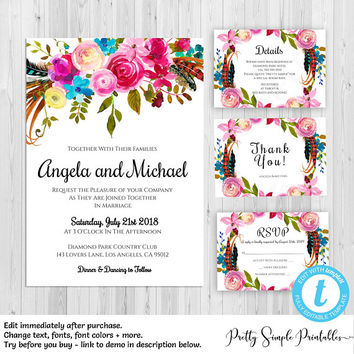 Wedding Invitation Suite Template, Kit, Save the Date, Details Card, RSVP Card, Templett, Boho, Floral, Download, Set, Digital Download BOHO