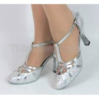 Free Shipping Wholesale Silver Glitter T-Strap Ballroom Closed Toe Dance Shoes