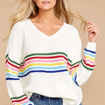 Mean It The Most Ivory Rainbow Stripe Sweater