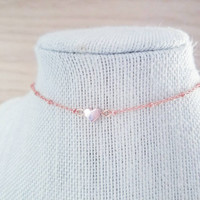 Rose gold heart choker necklace