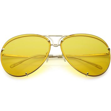 Retro Oversize 1970's Color Tinted Metal Aviator Sunglasses C467