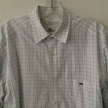 Sale!! Vintage Lacoste casual button up long sleeve cotton Shirt Size 40 Free shipping