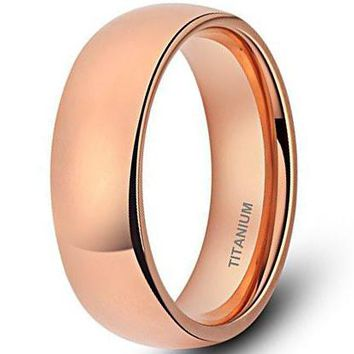 CERTIFIED 6mm Titanium Ring for Men Women Rose Gold Plated Classic Wedding Band Wide