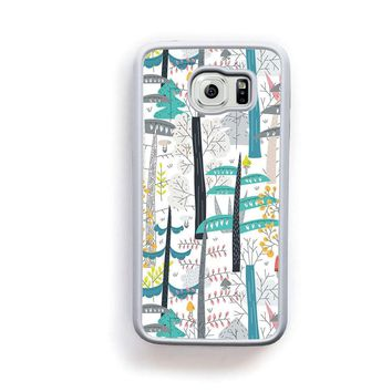 Scandinavian modern trees in black blue on white for Galaxy S6