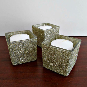 White Gold Glitter Votive Candle Holders for Christmas Decor Holiday Entertaining Dinner Party Housewarming Gift - Set Of 3