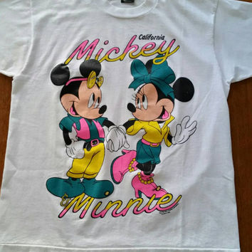90's Mickey & Minnie Mouse California T-shirt, Micky Mouse, Minnie Mouse, Disney, California, Neon, Normcore club kid.