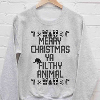 Merry Christmas You Filthy Animal sweatshirt cozy sweater for mens and womens heppy fit or sizing.