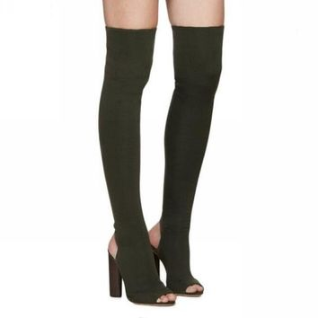 Thigh high over the knee high heel peep toe boot HIGH HEEL BOOTS