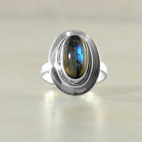 Blue Fire Labradorite Sterling Silver Ring