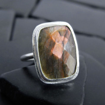 Orange Flash Labradorite and Sterling Silver Ring, Unusual Gemstone Ring, Rectangular Stone, Checkerboard Cut, Statement Ring, Gift for Her