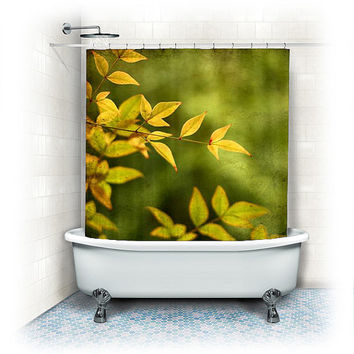 "Fabric Shower Curtain ""Yellow Leaves"" nature,green, bathroom, home decor,leaf,photography,bath"