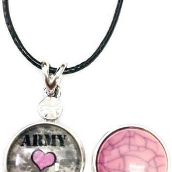 "Army Wife Pink Heart Snap on 18"" Leather Rope Diamond Pendant Necklace W/ Extra 18MM - 20MM Snap Charm"