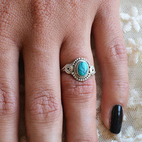 Oval Swirl Ring- Turquoise