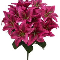 14 Stems Artificial Full Blooming Tiger Lily Mixed Bush with Greenery