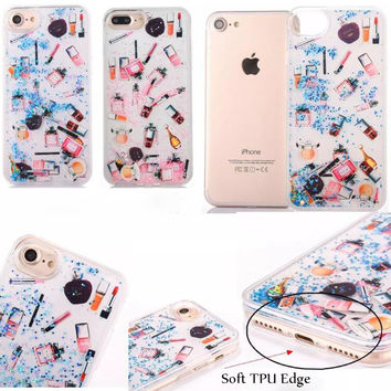 Beautiful Glitter Phone Case For iphone 7 Case For iphone 7 7 Plus 6s 6 Plus New Perfume Bottles Lipstick Soft Edge Phone Covers-03129