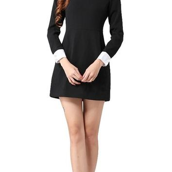 Goldensat Women Lapel Zip Back Long Sleeve Peter Pan Collar Dress Small Black