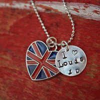 I love Louis Tomlinson One Direction  British Flag Charm Necklace Pendant