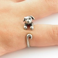 Silver Puppy - Animal Wrap Ring