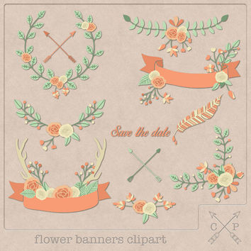 Hand drawn flower banners set 1 wreath laurel garland digital Clipart leafs feather ribbon antler logo design scrapbook wedding invites