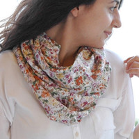 Orange, Yellow, Peach, Lilac, Pink, Green Floral Printed Cotton - Viscose Loose Infinity Scarf , Shawl , Neckwarmer