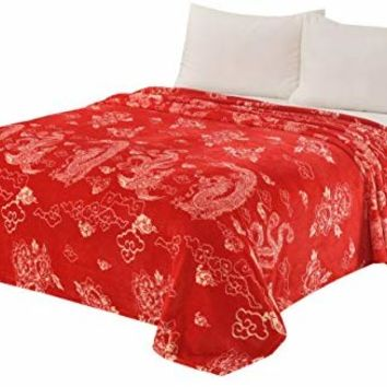 CaliTime Super Soft Throw Blanket for Bed Sofa Couch, Cozy Warm Flannel Fleece Chinese Vintage Dragon Phoenix & Auspicious Clouds, Chinese Red, Queen