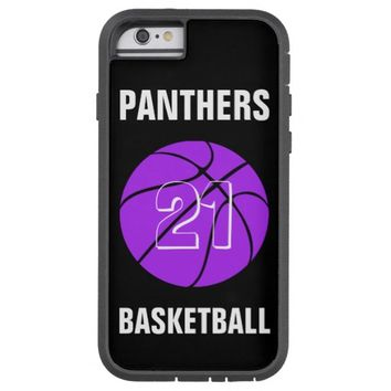 Custom Purple Basketball Number & Team Phone Case