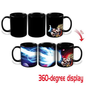 Dragon Ball Z Goku Heat Reactive Mug Coffee Cup Kamehameha Super Saiyan Color Changing Heat Change Ceramic Caneca Novelty Gift