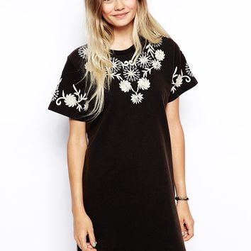 ASOS Embroidered T-shirt Dress With Key Hole Detail