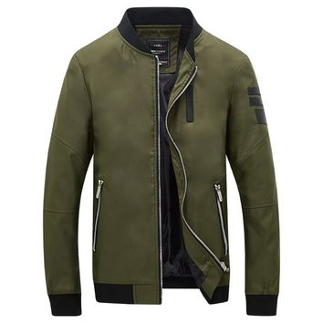 New Fashion Korean Style Men's Jackets Solid Stand Collar Casual Bomber Jacket Men Windbreaker Military Army Jacket Coats 5XL