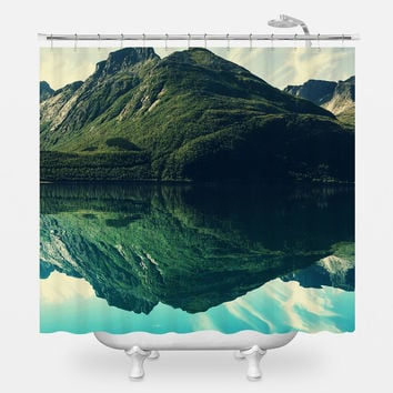 Tranquil Mountain Lake Shower Curtain