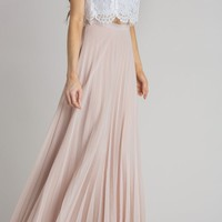 Simone Beige Pleated Maxi Skirt