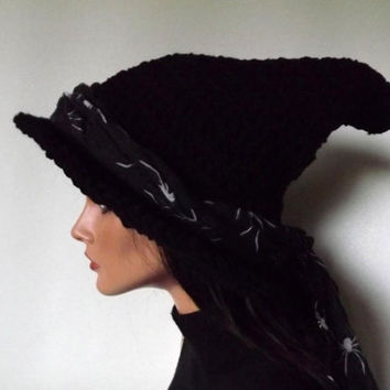 Witch Hat Crochet- The Craft Keeper-  Witch Hat With Spider Scarf Sash Halloween Imbolc Fashion