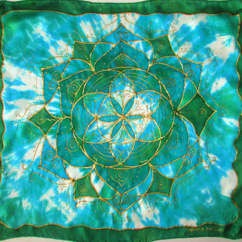 Altar cloth,Seed of Life mandala, mandala, mandala art, sacred geometry, card reading cloth, crystal grid, green and blue scarf