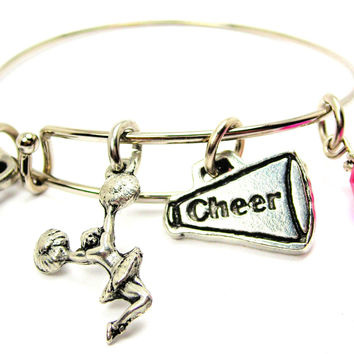 Jumping Cheerleader With Cheer Horn Bangle Bracelet