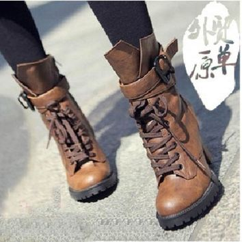 MDIGIX3 2015 Winter Women Genuine leather high heels motorcycle boots ankle boots for women chunky platform black brown = 1946735364