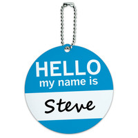 Steve Hello My Name Is Round ID Card Luggage Tag