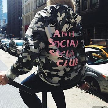 "Print ""Anti Social Socail Club"" Hoodies Camouflage Tops [9282215943]"