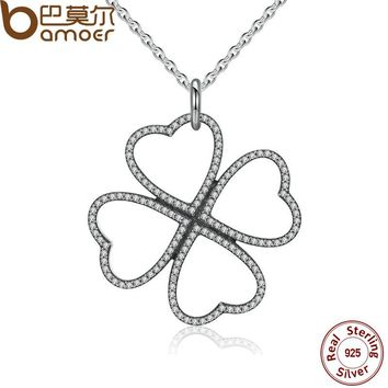 Summer 925 Sterling Silver Petals of Love, Clear CZ Clover Necklace & Pendant For Women Chain Necklace PSN007