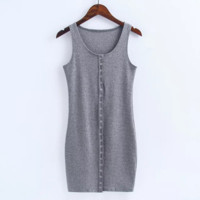 Sexy show body knit cotton front button vest type sexy dress Grey