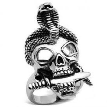 Skull With Snake Ring For Men FREE SHIPPING !!!
