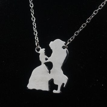 Hot Film Beauty And The Beast Dancing Necklace Pendant 2 Color  Women Jewelry