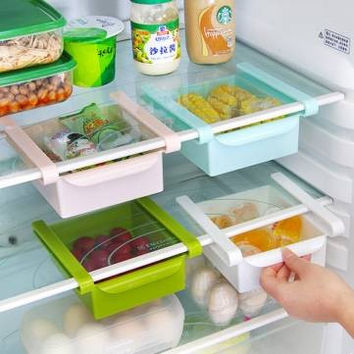 Plastic Kitchen Refrigerator Fridge Storage Rack - Freezer Shelf Holder Kitchen Organization