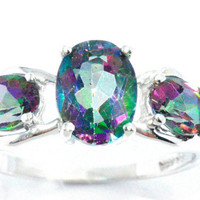 2 Carat Genuine Mystic Topaz Oval Ring .925 Sterling Silver Rhodium Finish White Gold Quality