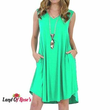 Plus-Size Sleeveless 8-color Casual Sexy V-Neck Streetwear Women Dress